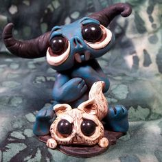 Blue Buddy Monster with his Kitty Creature by CovingtonCreations on Etsy