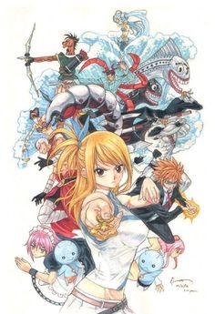 Lucy Heartfilia and the 12 Zodiac Celestial Spirits -- Fairy Tail Fairy Tail Lucy, Fairy Tail Nalu, Fairy Tail Ships, Rog Fairy Tail, Image Fairy Tail, Fairy Tail Amour, Fairy Tail Family, Fairy Tail Guild, Manga Anime