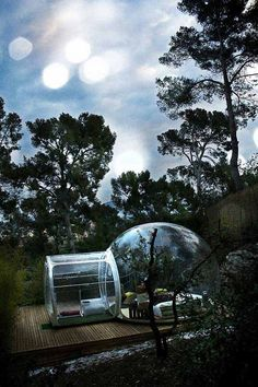 Unique transparent bubble tents, made in france. Could be a funny experience.