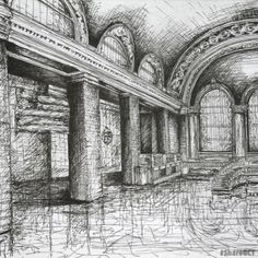 This stunning #gctart of the #mainconcourse comes from @drawingbrooklyn on Instagram