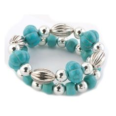 Pugster Bling Jewelry Silver Beads Fashion Turquoise Double Strand Bracelet | Good Jewelry Brands