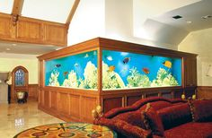 Don't create your own aquarium; let Living Art Design, Inc build one for you. We have been designing aquariums, ponds, and water features over 40 years. Cool Fish Tanks, Saltwater Fish Tanks, Saltwater Aquarium, Awesome Tanks, Reef Aquarium, Aquarium Fish Tank, Aquarium Ideas, Tanked Aquariums, Fish Aquariums