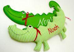 Greifling Krokodil und Namen von Josefines Kinder auf DaWanda.com | Crocodile #alligator