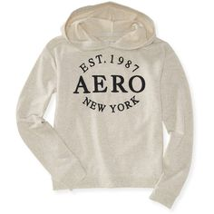 Aeropostale Aero New York Popover Graphic T ($22) ❤ liked on Polyvore featuring lightest heather grey and aéropostale