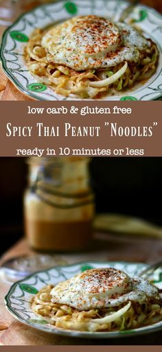 Easy low carb Thai peanut noodles are ready in 10 minutes keto friendly recip Keto Foods, Ketogenic Recipes, Keto Recipes, Healthy Foods, Pescatarian Recipes, Donut Recipes, Thai Recipes, Best Low Carb Recipes, Low Carb Dinner Recipes