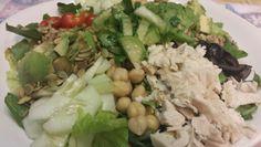 turkey,garbanzo beans,cucumber,pepitos, sunflower seeds, cherry tomatoes,avocado,olives, tomatillios & celentro salad