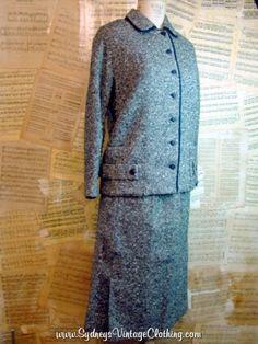 Vintage 60's Black White Tweed Wool Dress Suit