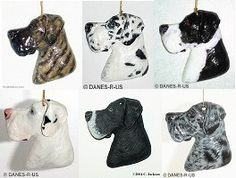 Great Dane Bust Uncropped Ornament from #DanesRUs is CUSTOM painted in your preferred coat color. Ornament is hand painted in acrylic with gloss top coat added to seal and protect. Ornaments are randomly painted in your specified color, no two are ever the same since they are individually hand cast and hand painted. Available in any color: black, blue, brindle, fawn, harlequin, mantle, merle, white and less common colors and patterns. Use for Christmas or everyday display.