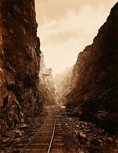 William-Henry Jackson - The Royal Gorge (Grand Canon of the Arkansas)  1881 rails