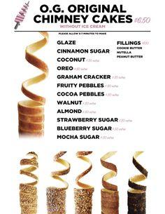 menu — House of Chimney Cakes Best Ice Cream Cake, Ice Cream Cupcakes, Waffle Pops, Coffee Bar Design, Chimney Cake, Bakery Menu, Carnival Food, Coconut Peanut Butter, Dessert In A Jar
