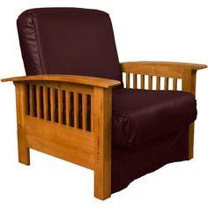 Epic Furnishings LLC Nantucket Chair Sleeper Bed Frame Finish: Medium Oak Wood, Upholstery: Leather Look Bordeaux