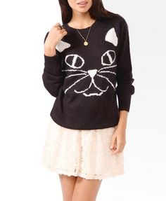 Feline Graphic Sweater | FOREVER 21 - 2040473268 GIMME DAT