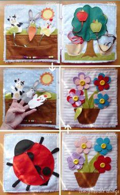 libro sensorial de aprendizaje (quiet book) 6 páginas  fieltro,botones  cintas  velcro..,tela de algodón hecho a mano