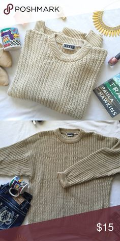 """Oatmeal colored thick knit """"weekend"""" sweater This is what I picture spending my fall and winter weekends in 🏈☕️ It is a pretty oatmeal color, has a nice thick knit to it, and would look great wth leggings. The size tag is missing, but the measurements reflect a size XL. Gently used, but still in great condition! Measurements (laying flat): bust 25"""", length 28"""", arm 25"""" Sweaters Crew & Scoop Necks"""