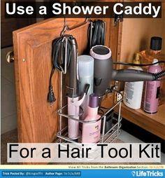 Bathroom Organization - Use a Caddy to Store Hair Appliances Follow #teenhacks