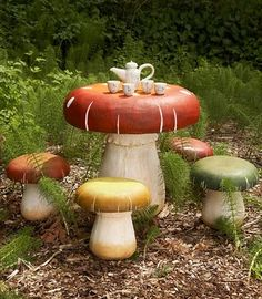 I would love these toadstool tables amongst the ferns in the garden for the grand kids