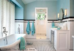 Turquoise, black, and white bathroom