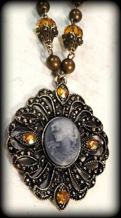 Vintage Inspired Cameo Necklace Design & Handcrafted by Rachel's Originals: Jewelry So Adorable It's ADORNable  TO ORDER: Please visit my FB and/or Esty pages at the following links!  www.facebook.com/RachelsOriginals  www.rachelsoriginalgifts.etsy.com