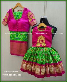 Mother and Daughter matching dress designs by Angalakruthi boutique Bangalore Ikkat silk designs by Angalakruthi boutique Bangalore  mother and daughter matching dress with silk saree and pavada