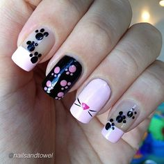 """Nail DIY idea- use dotting tool for paw prints. by @nailsandtowel ""My own pink panther nails!"" #nailideas #nail #nailart #nailpolish #nailhowto…"""