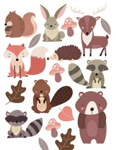 Woodland Forest Animals Nursery Wall Stickers
