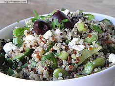 Greek Style Tri-Color Quinoa Salad  Ingredients  1 cup uncooked quinoa (tri-color, red or white) 1/4 cup crumbled light feta cheese 1/4 cup or 12 pitted kalamata olives, sliced 1 scallion, chopped 1 cup English cucumber, sliced 1/2 cup shelled edamame (soy beans) 2 tablespoons extra virgin olive oil 2 tablespoons lemon juice 1 teaspoon minced garlic salt and pepper to taste