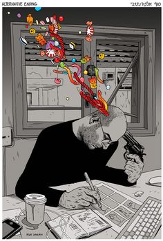 Illustration by Asaf Hanuka. Awesome!