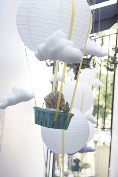 elephant in hot air balloon... so cute for a bay shower (and with a different theme for a wedding)