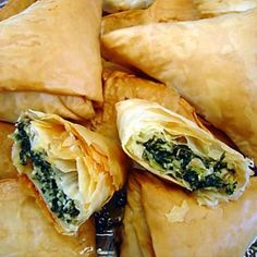 . Spinach and Feta Phyllo Triangles Recipe from Grandmothers Kitchen.