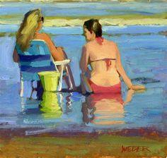"""At the beach"" - Original Fine Art for Sale - © Kathy Weber"