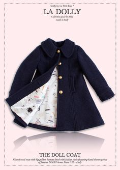 fded109b5fe8 LA DOLLY made in Italy  the DOLL COAT  navy The DOLL COAT is a beautiful  flared coat crafted from wool with big golden buttons and lined with our  Dolly ...