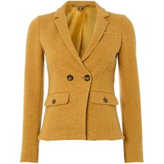 Marella Foster double breasted riding jacket ($155) ❤ liked on Polyvore featuring outerwear, jackets, sacos, tops, sale, women, yellow, collar jacket, marella and long sleeve jacket