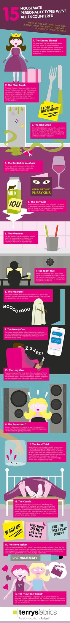 15 Housemate Personality Types We've All Encountered  [by Terrys Fabrics -- via #tipsographic]. More at tipsographic.com