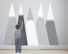 chalkboard MOUNTAIN Headboard Wall Protect Creative Space SILVER customized Nursery Wall Decal for kids Washable decoration blackboard