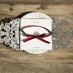 purple laser cut invitations with ivory ribbon EWWS054 as low as $2.09 |