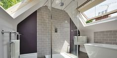 Loft Bathroom ideas. Shower placement and wide Velux