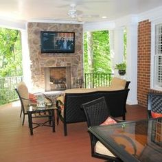 Superb Outdoor Living Space Addition With TV Mount Over Fireplace By Hatchett  Design/Remodel