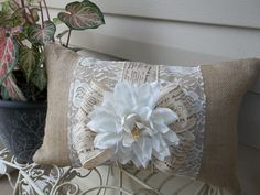 """Romantic  Lace and Oyster Burlap  17"""" X 12"""" Pillow on Etsy, $16.00"""