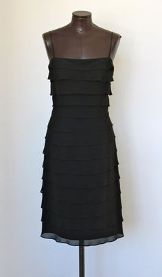 vintage TADASHI little black dress silk tiered by doreensvintage, $75.00