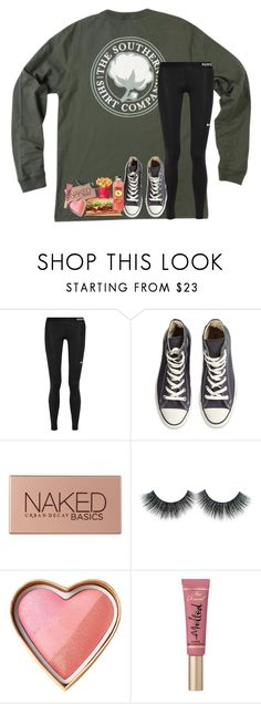 """""""i love food"""" by lindsaygreys ❤ liked on Polyvore featuring NIKE, Converse, Urban Decay and Too Faced Cosmetics"""