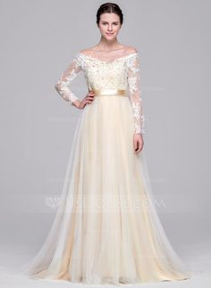A-Line/Princess Off-the-Shoulder Sweep Train Tulle Wedding Dress With Beading Appliques Lace Sequins Bow(s) (002071529) - JJsHouse