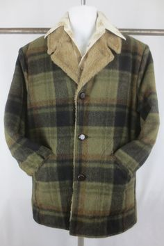 Vintage Western Canvas Jacket-plaid Flannel lining-1970s-Size Large cXmf3eP