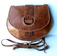 60s Boho Hippie Brown Distressed Leather Purse Bag Crossbody Saddle Messenger Bag Medieval Pouch