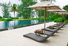 Beach chairs and umbrella side swimming pool #Hotel #Designs