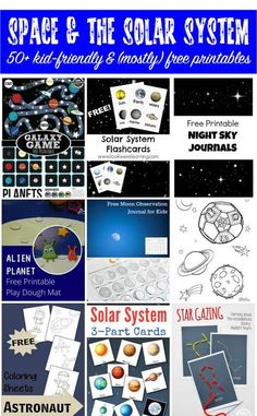 More than 50 (mostly) free Space and Solar System Printables for kids. Excellent printable resources for learning about the planets, the universe, the moon, constellations, and astronauts. #space #printables #giftofcuriosity || Gift of Curiosity