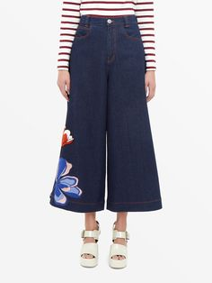 See By Chloé Denim Culottes With Floral Detailing Image 1