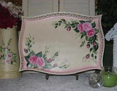 Hand Painted Roses Decorative Tray