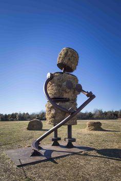 "Tom Otterness, ""Makin' Hay"", 2002, Steel and hay bales crystalbridges.org"