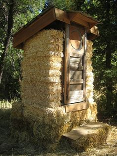 straw bale outhouse!