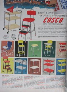 i've got the red stepping stool  Rolling kitchen cart, step stools- a 1950's must...